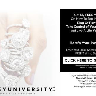 Wifey University FREE Ring of Power Video by Rhonda Coleman Albazie