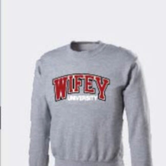 Wifey University Logo Sweatshirt In Red:White Grey Crew