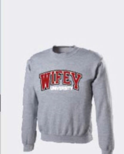 Wifey University Signature Logo SS In Grey Red/White Crew Neck